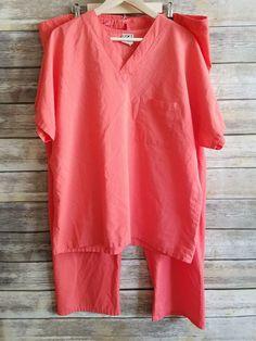 Uniform Advantage Womens 2 Piece Scrub Set - V Neck Coral Pink Drawstring Size L | Clothing, Shoes & Accessories, Uniforms & Work Clothing, Scrubs | eBay!