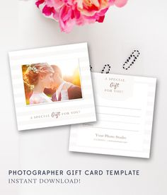 Photography Gift Certificate Template - Photo Gift Card Templates - Photographer Photoshop Templates - Voucher - INSTANT DOWNLOAD by ByStephanieDesign on Etsy