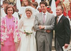 Queen Sofia of Spain, left, and her husband King Juan Carlos of Spain, right, with Crown Prince Pavlos and his new wife Marie-Chantal. Queen Sofia is the aunt of Crown Prince Pavlos, her sister Queen Anne Marie of Greece is his mother.