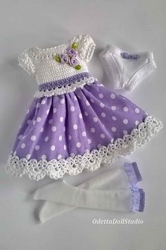 Dress for doll 13 inch Paola Reina Summer dress for dolls Paola Reina, Little Darling, Corolle Les Cheries, Antonio Juan, Berjuan in delicate white and purple colors is made by combining crochet (bodice of the dress) and fabric (skirt… Continue Reading → Handmade Baby Clothes, Handmade Skirts, Baby Doll Clothes, Crochet Baby Clothes, Crochet Girls, Doll Clothes Patterns, Crochet For Kids, Crochet Dress Outfits, Crochet Tutu Dress