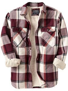 Yup. This shirt calls out to me and I must have it...as soon as the heat is gone. Old Navy | Men's Flannel Sherpa-Lined Shirt Jackets