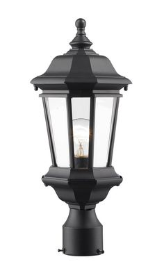 Z-Lite 540PHM-BK Melbourne 1 Light 19 inch Black Outdoor Post Light