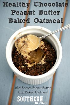 Healthy Chocolate Peanut Butter Cup Baked Oatmeal - just like eating a Reeses Peanut Butter Cup but in healthy oatmeal form! This recipe is gluten free, vegan, sugar free, low fat, dairy free and SO delicious!