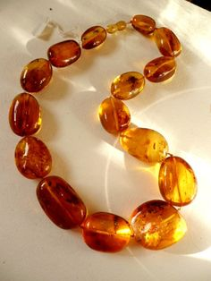 FREE SHIPPING  Amber necklace, semitransparent dark yellow ,gold honey amber natural Baltic Sea ,very high quality amber necklace.