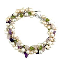 Sterling Silver Culture Freshwater Pearl with Genuine Amethyst Bracelet Silver Empire Jewelry. $45.98. Nickle Free. White and Peach Freshwater Pearls. .925 Sterling Silver base matal. Amethyst Gemstone. Save 84% Off!