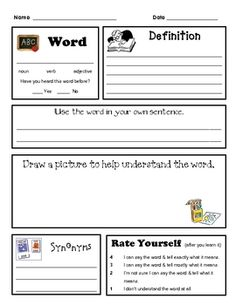 Generic word work form for content vocabulary. Includes a place for the word, the part of speech, the definition, a place for the student to use the word in a sentence, draw a picture, find synonyms and rate themselves on their understanding of the word.