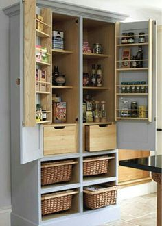 Take an old armoire and turn it into a pantry.