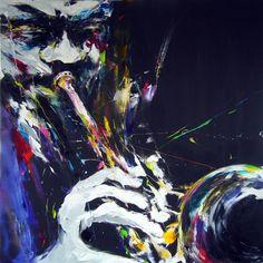 trompette - Peinture ©2014 par Christian Vey -