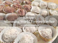 Recipe : Slimming World Ferrero Rocher - A Slice of my Life Wales astuce recette minceur girl world world recipes world snacks Slimming World Taster Ideas, Slimming World Deserts, Slimming World Recipes Syn Free, My Slimming World, Weetabix Recipes, Weetabix Cake, Fudge Recipes, Dessert Recipes, Options Hot Chocolate