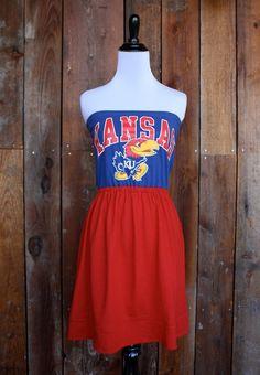 University of Kansas KU Jayhawks Game Day Strapless Dress