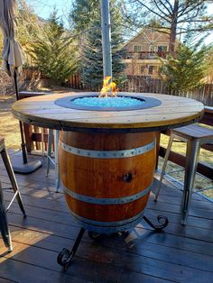 Wine Barrel Fire Pit, Whiskey Barrel Table, Wine Barrels, Wine Barrel Table Diy, Propane Fire Pit Table, Fire Table, Wine Barrel Furniture, Fire Pit Furniture, Furniture Plans