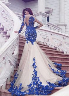 Luxury Tulle Jewel Neckline Mermaid Evening Dresses With Lace Appliques