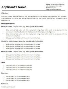 basic resume templates free download