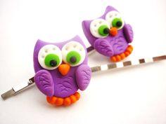 Owl shaped hair pins bobby pins colored Hair by JustFingerPrint, $7.00