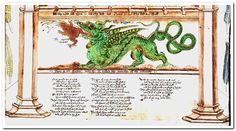 """Ancient color illustration, """"Emblematic Alchemy in English verse, with an English version of the Visio mystica of Arnold of Villanova – Ripley scroll"""" - circa 1570 - Detail."""