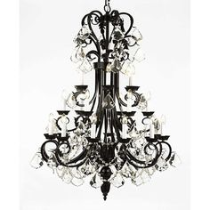 Wrought Iron & Crystal 24 Light Chandelier Lighting