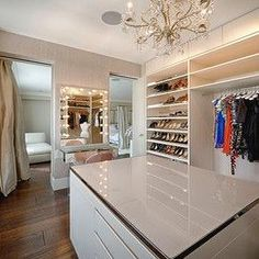 Walk In Closet with Mirrored make Up Vanity, Transitional, Closet