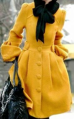 Mustard Coat with black scarf. Oh me, oh my...yes and yes.