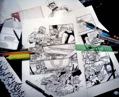 Robotech Original Pages on my Desk