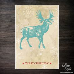 Blue Deer  Vintage Holiday Card with Natural by PaperTalesCustom, $45.00