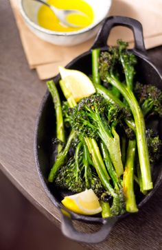 Quick and easy side dish- roasted broccolini with lemon vinaigrette. Goes with just about anything!