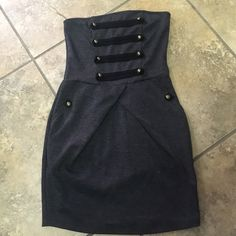 Strapless Wet Seal Dress S Perfect condition. No holes. No stains. Has pockets. Military style design Wet Seal Dresses Mini