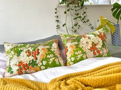 Bolster pillow cushion in oriental spring chinoiserie floral | Etsy Bolster Pillow, Bed Pillows, Pillow Cases, Green And Gold, Red Green, Textile Design, Floral Design, Luxury Cushions, Vintage Kimono