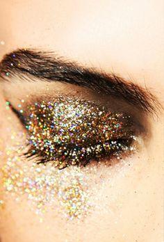 Gold and glitter eye make-up