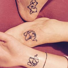 small elephant tattoos for best friends