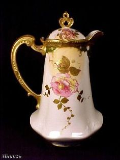 Limoges Porcelain Professionally Decorated Floral Chocolate Pot & Cover , 9 1/2 h, c. 1899-1913 . Molded & fluted shape tapering from ruffled skirt bottom to heavily gilt molded scroll, dot & scallop