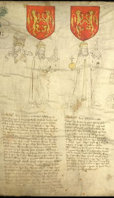 Detail from The Rous Roll, an illustrated armorial roll-chronicle by John Rous (d. 1491), chantry priest of Guy's Cliffe, in the county of Warwick , commemorating the benefactors of the town of Warwick and celebrating the deeds of holders of the Warwick earldom. Depicted here are Guthelinus, founder of Warwick, holding a walled town in his left hand, with his helm and crest alongside; and Gwiderius, second founder of Warwick, holding an orb in his right hand and a walled town in his left hand.