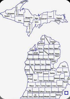 Michigan State Map, Detroit Michigan, Lake Michigan, Michigan Accent, Muskegon Michigan, Michigan Vacations, Michigan Travel, County Map