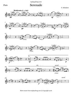 Serenade by Schubert. Free sheet music for flute. Visit toplayalong.com and get access to hundreds of scores for flute with backing tracks to playalong.