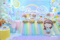 Unicorn Themed Birthday Party, Rainbow Birthday Party, Baby Girl Birthday, Birthday Balloons, Unicorn Party, Birthday Party Themes, Baptism Party Decorations, Cloud Party, Rainbow Balloons
