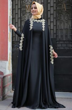 Image of Mislinas cape evening dress Fulyan New Season Hijab Collections ko … Muslim Women Fashion, Islamic Fashion, Modest Fashion, Hijab Fashion, Fashion Outfits, Dubai Fashion, Moda Hijab, Estilo Abaya, Mode Abaya