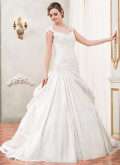 Ball-Gown Sweetheart Chapel Train Taffeta Tulle Wedding Dress With Ruffle Lace Beading Sequins (002055090)