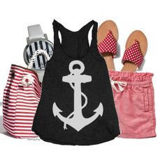 Nautical Outfit :) Summer Shorts Outfits, Short Outfits, Stylish Outfits, Cool Outfits, Fashion 101, Fashion Wear, Teen Fashion, Womens Fashion, Nautical Outfits