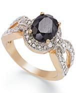 Victoria Townsend 18k Gold over Sterling Silver Midnight Sapphire (2-1/10 ct. t.w.) and Diamond Accent Ring