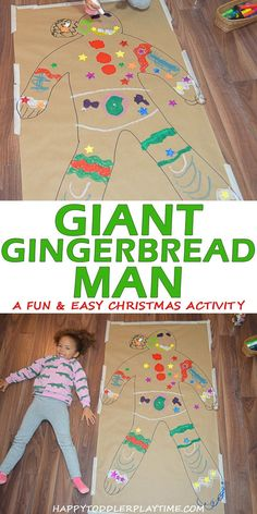christmas crafts for kids to make Giant Gingerbread Man HAPPY TODDLER PLAYTIME Create a life size gingerbread man (or girl!) in this super easy and fun Christmas craft activity! Your toddler, preschooler or kindergartner will love it! Christmas Activities For Kids, Indoor Activities For Kids, Christmas Fun, Holiday Fun, Kids Winter Crafts, Spring Crafts, Christmas Crafts For Preschoolers, Christmas Projects For Kids, Kindergarten Christmas Crafts