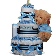 DARLING BABY BOY 3 TIERED NAPPY CAKE, BABY BOUQUET,BABY PAMPER HAMPER:Ideal for new born gift, baby shower gift