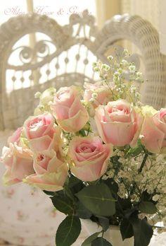 Aiken House & Gardens soft pink roses sunlight