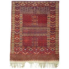 Antique Tribal Turkmene Hatchlou Carpet | From a unique collection of antique and modern central asian rugs at https://www.1stdibs.com/furniture/rugs-carpets/central-asian-rugs/