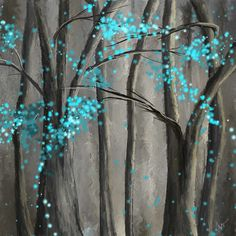 Turquoise leaves, abstract canvas painting ...from Google Images
