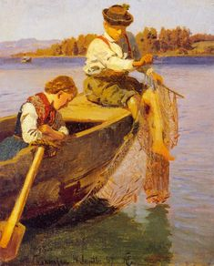 Hans Gude : Fiskerbarn Chiemsee, 1867, National Gallery of Norway, Oslo || Hans Gude (13 March 1825 – 17 August 1903) Norwegian romanticist painter. - http://en.wikipedia.org/wiki/Hans_Gude