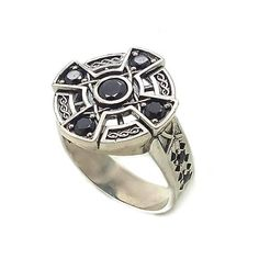 383b20ce53f9 Irish Viking Celtic Cross with Ornament and Zircons Unisex Mens Silver Rings