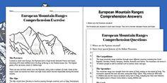 European Mountain Ranges Comprehension Worksheets