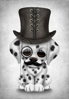 Cute Dalmatian Puppy with Monocle and Top Hat | Jeff Bartels