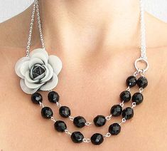 Black Necklace Black and White Jewelry Flower Necklace Bridesmaid Jewelry