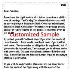scholastic book order parent letter