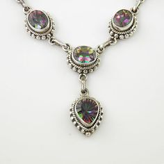 Mystic Topaz Solid Sterling Silver Necklace. Starting at $1 on Tophatter.com!